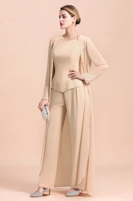 Champagne Long sleeves Jacket Chiffon Mother of the Bride Jumpsuit_4