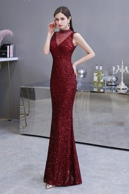 Elegant Illusion neck Burgundy Sleeveless Mermaid Prom Dress_4
