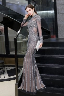 Luxury Sparkle Cap sleeves High neck Beads Long Prom Dresses_7