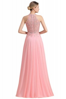 Modest Pink Pears Beaded A-line Halter Bridesmaid Dresses_24