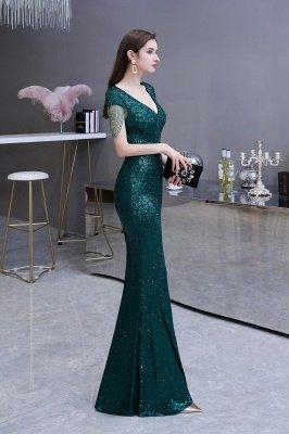 Shining Sequined Emerald Green Mermaid Cap sleeve Long Prom Dress_4