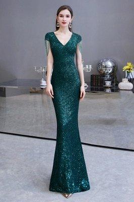 Shining Sequined Emerald Green Mermaid Cap sleeve Long Prom Dress_2