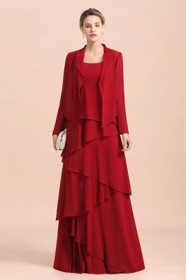 Ruby Chiffon Two-pieces Ruffles Long sleeves Mother of the Bride Dress