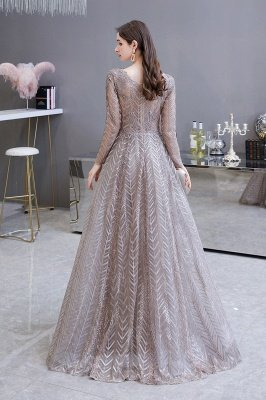 Modest Long sleeves V-neck Princess Prom Dress_7