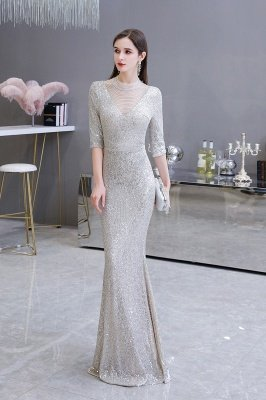 Gorgeous Silver Long sleeves Long Prom Dress_5