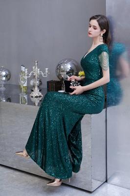 Shining Sequined Emerald Green Mermaid Cap sleeve Long Prom Dress_12