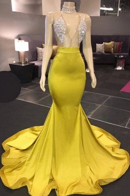 Sexy Yellow Sleeveless Crystals Sheer Tulle Prom Dresses 2020 | Cheap Mermaid Formal Evening Gowns