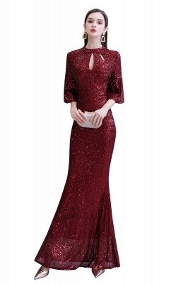 Glitzernde Half Sleeves Keyhole Mermaid Long Burgund Prom Kleid_1