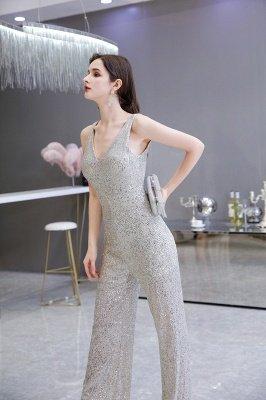 Sexy Shining V-Ausschnitt Silber Pailletten Ärmellose Prom Jumpsuit_8