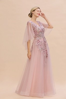 Ruffy Sleeves aline Romantic Tulle Evening Maxi Gown Pearl Lace Appliques Party Dress_4