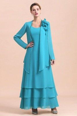 Long sleeves Ocean blue Ruffles Column Chiffon Flower Mother of bride dress