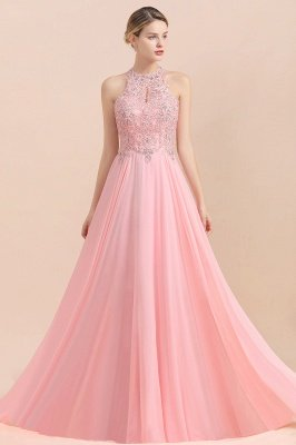 Modest Pink Pears Beaded A-line Halter Bridesmaid Dresses_19