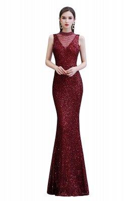 Élégante robe de bal sirène sans manches à col illusion bordeaux_1