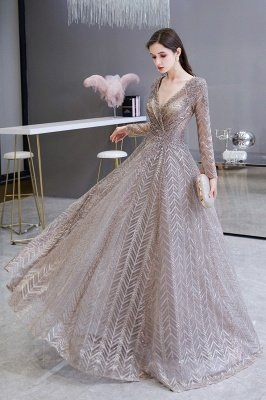 Modest Long sleeves V-neck Princess Prom Dress_8