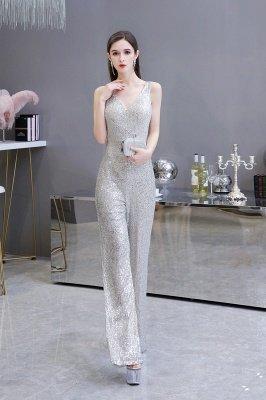 Sexy Shining V-Ausschnitt Silber Pailletten Ärmellose Prom Jumpsuit_6