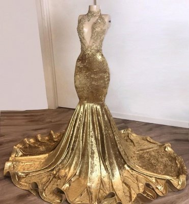 Shinning Champagne Gold Deep V-Ausschnitt Court Train Mermaid Prom Kleider_2