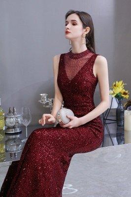 Élégante robe de bal sirène sans manches à col illusion bordeaux_7