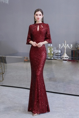 Glittering Half Sleeves Keyhole Mermaid Long Burgundy Prom Dress