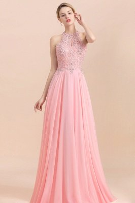 Modest Pink Pears Beaded A-line Halter Bridesmaid Dresses_3