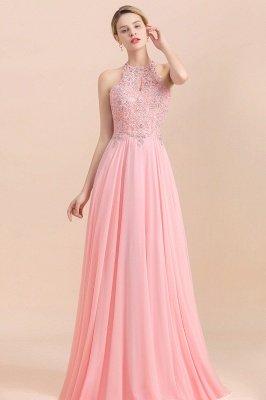 Bescheidene rosa Birnen Perlen A-Linie Halfter Brautjungfernkleider_3