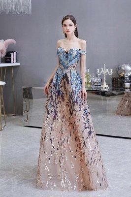 Sparkle Off the shoulder Rainbow sequin A-line Long Prom Dress_3