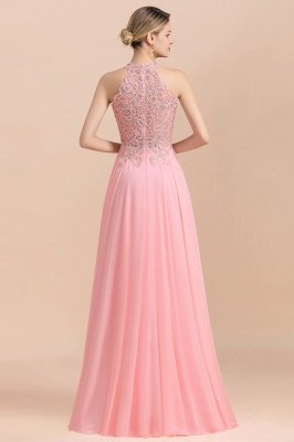 Modest Pink Pears Beaded A-line Halter Bridesmaid Dresses_4