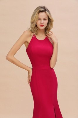 Sexy Halter Mermaid Evening Maxi Gown Side Slit Party Dress_5