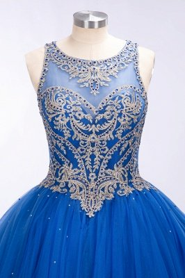 Royal Blue Illusion neck Ball Gown Fully Beaded Bodice Prom Dress_2