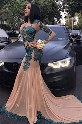 Elegant Long Sleeve Full Length Mermaid Prom Gown for Women with Train