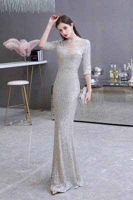 Gorgeous Silver Long sleeves Long Prom Dress_4