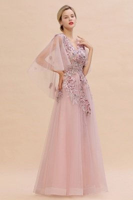 Ruffy Sleeves aline Romantic Tulle Evening Maxi Gown Pearl Lace Appliques Party Dress_7