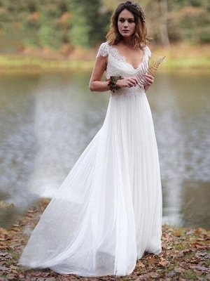 Chic Lace Shorts Sleeve V-neck Wedding Dresses | A-line Floor Length Cheap Bridal Gowns_1