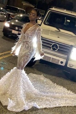Sexy See-through V-neck Long sleeves Mermaid Prom Dress with Luxury Train_1