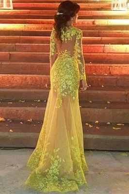 Elegant Lace Long Sleeves Sweetheart Party Dresses With Detachable Skirt   Yellow Tulle Evening Gowns_2