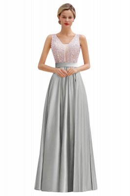 Arik | Simple Pearl pink Sequined Belt Pleats Long Prom Dress_4