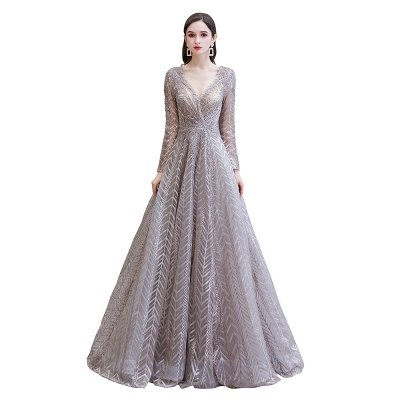 Modest Long sleeves V-neck Princess Prom Dress_11