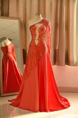 Sexy See-through One shoulder Red A-line Prom Dress Babyonlinedress Design