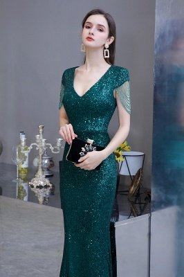 Shining Sequined Emerald Green Mermaid Cap sleeve Long Prom Dress_6