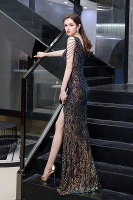 Vestido de noche negro sin mangas con escote en V y escote en V alto en línea_7