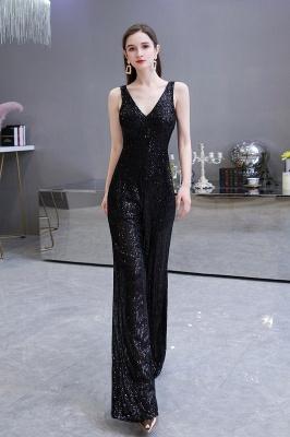 Sexy Shining V-Ausschnitt Silber Pailletten Ärmellose Prom Jumpsuit_12