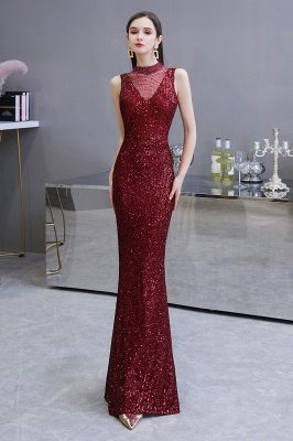 Elegant Illusion neck Burgundy Sleeveless Mermaid Prom Dress_3