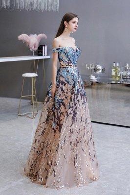 Funkeln Sie von der Schulter Rainbow Pailletten A-Linie Long Prom Dress_6