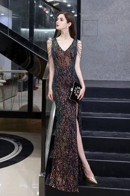 Sparkle V-neck High split Sleeveless Black Evening Dress Online_8