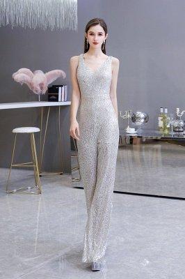 Sexy Shining V-Ausschnitt Silber Pailletten Ärmellose Prom Jumpsuit_5
