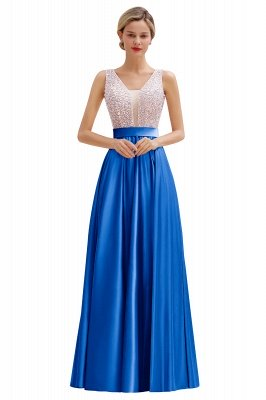 Arik | Simple Pearl pink Sequined Belt Pleats Long Prom Dress_2