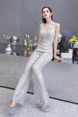 Sexy Shining V-Ausschnitt Silber Pailletten Ärmellose Prom Jumpsuit_11