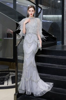 Gorgeous Silver Feather Cape Mermaid Sparkle Prom Dress