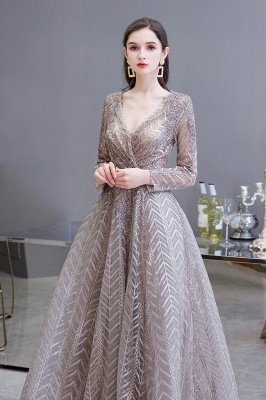 Modest Long sleeves V-neck Princess Prom Dress_5