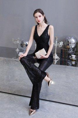 Sexy Shining V-Ausschnitt Silber Pailletten Ärmellose Prom Jumpsuit_17