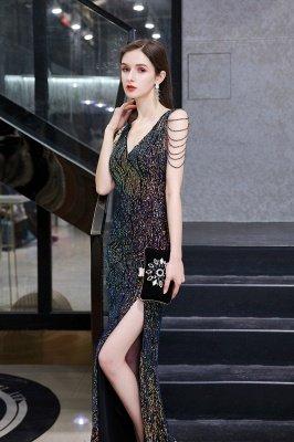 Vestido de noche negro sin mangas con escote en V y escote en V alto en línea_9